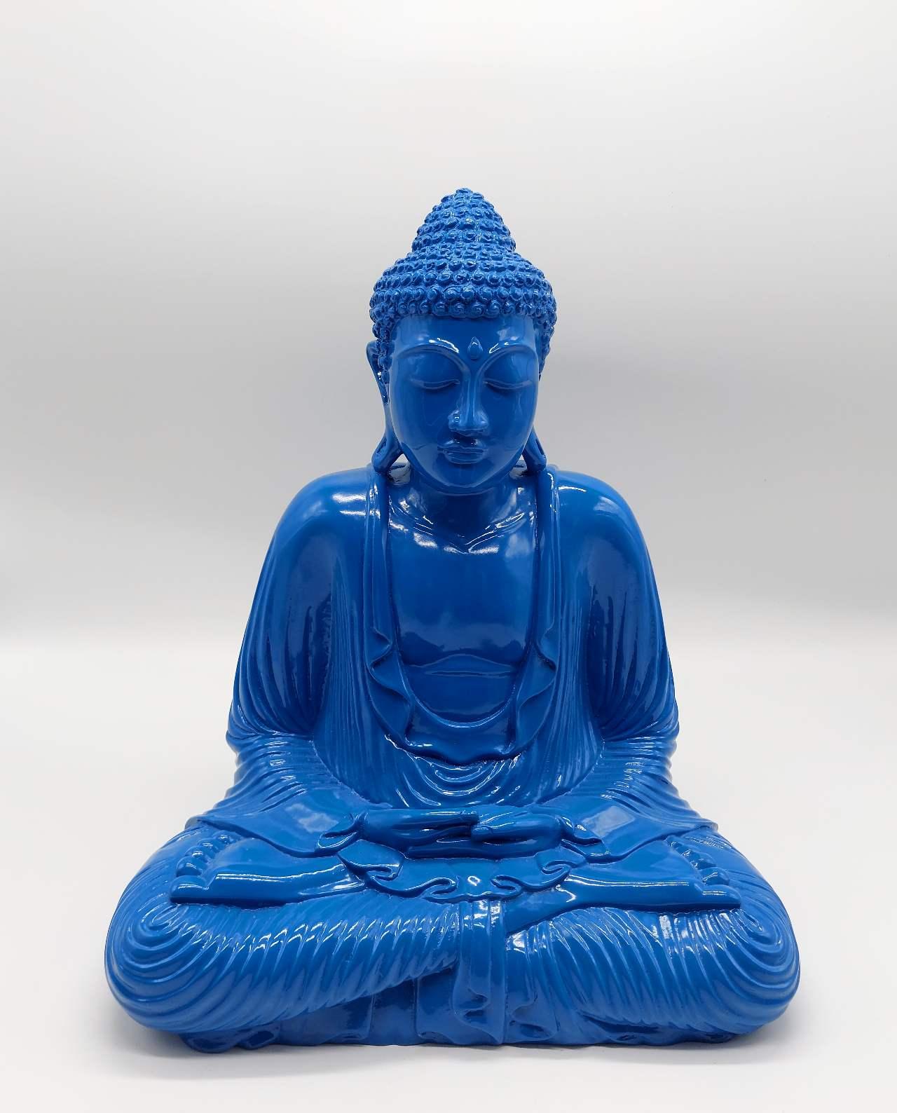 Buddha resin blue height 40 cm