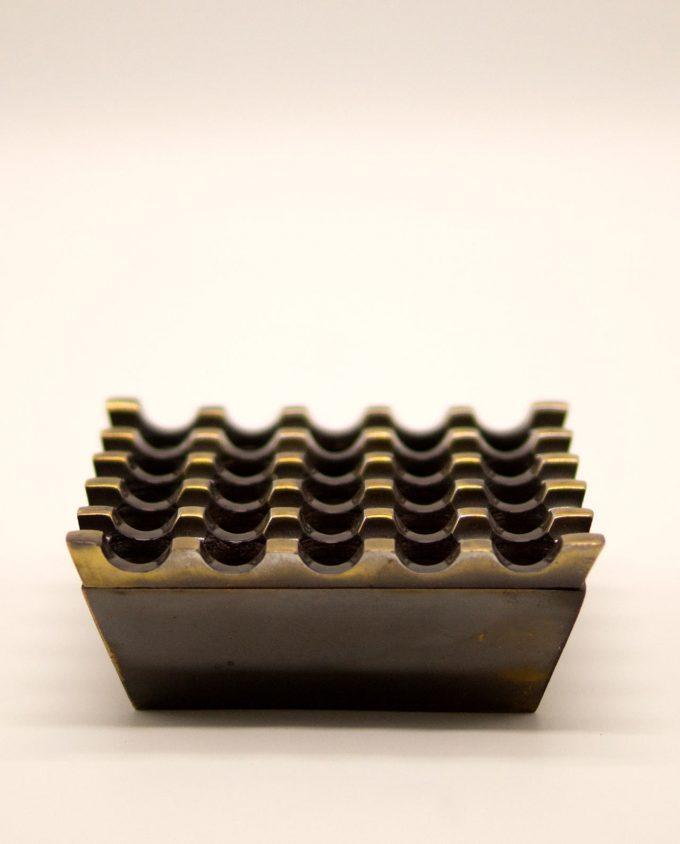 Τασάκι μεταλλικό αλουμίνιο καφέ αντικ 5 χ 5 τρύπες