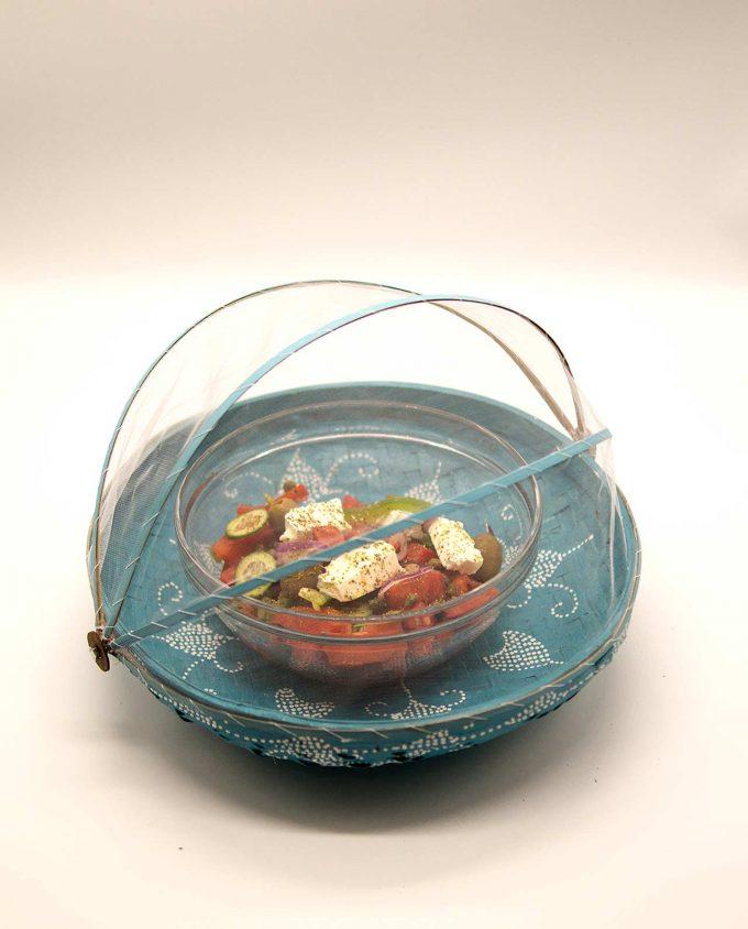 Καλάθι πιατέλα με αναδιπλώμενο τούλι διαμέτρου 35 cm γαλάζιο