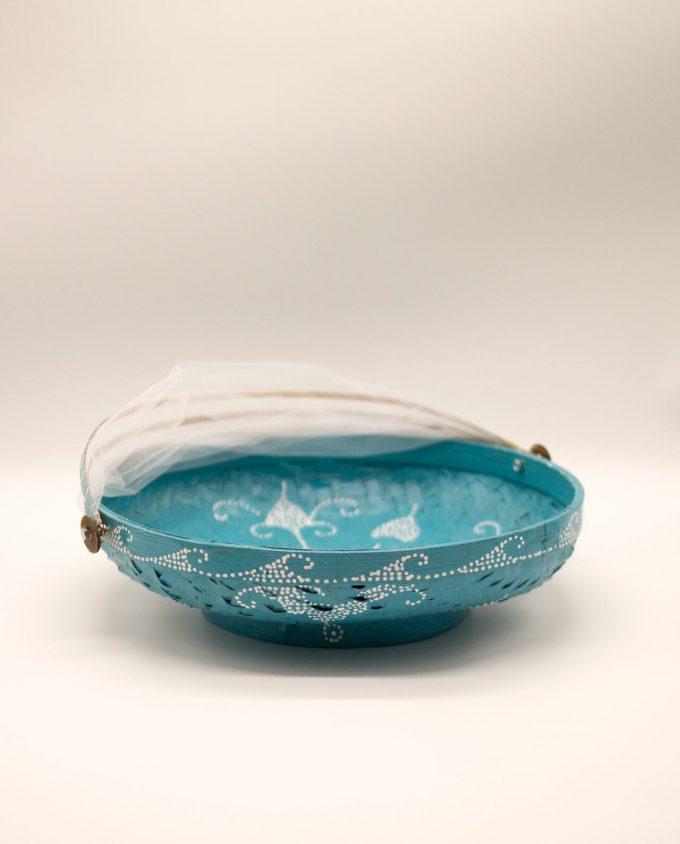Καλάθι πιατέλα με αναδιπλώμενο τούλι, διαμέτρου 25 cm γαλαζιο