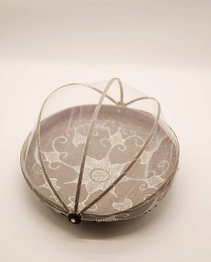 Καλάθι πιατέλα με αναδιπλώμενο τούλι διαμέτρου 35 cm γκρι