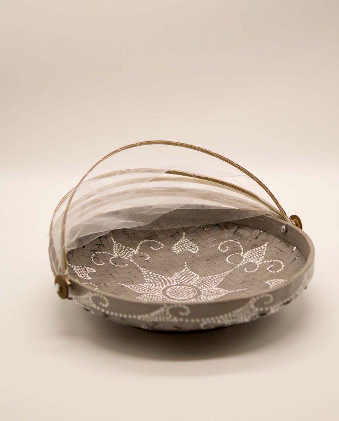Καλάθι πιατέλα με αναδιπλώμενο τούλι, διαμέτρου 30 cm γκρι