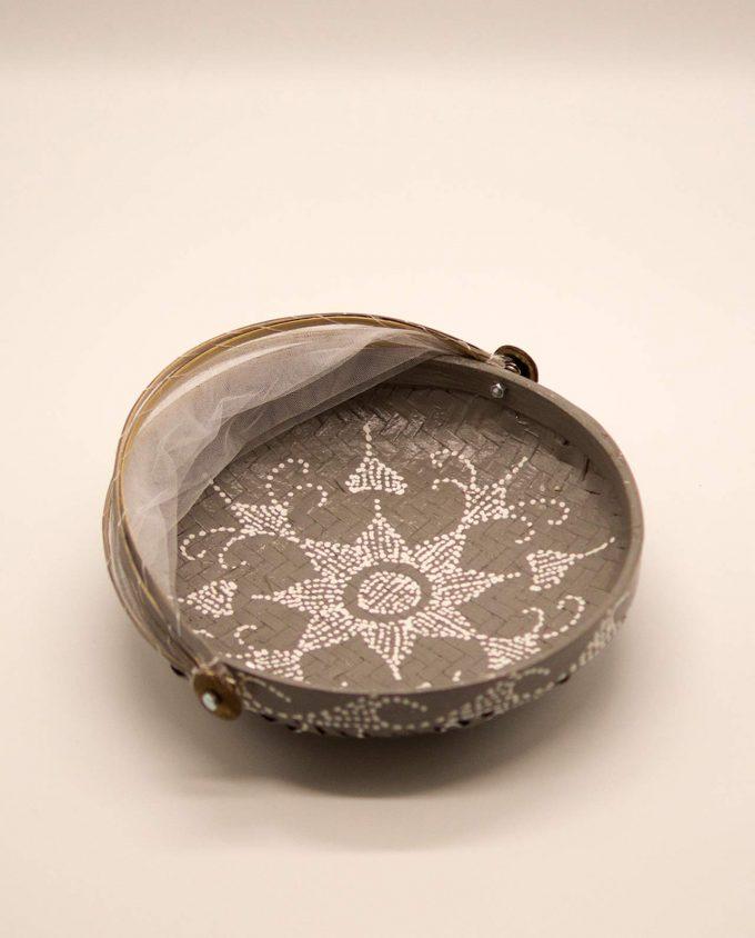 Καλάθι πιατέλα με αναδιπλώμενο τούλι, διαμέτρου 25 cm γκρι
