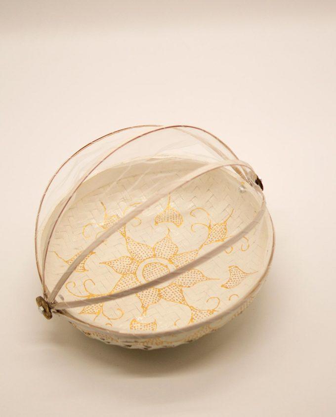 Καλάθι πιατέλα με αναδιπλώμενο τούλι, διαμέτρου 25 cm άσπρο