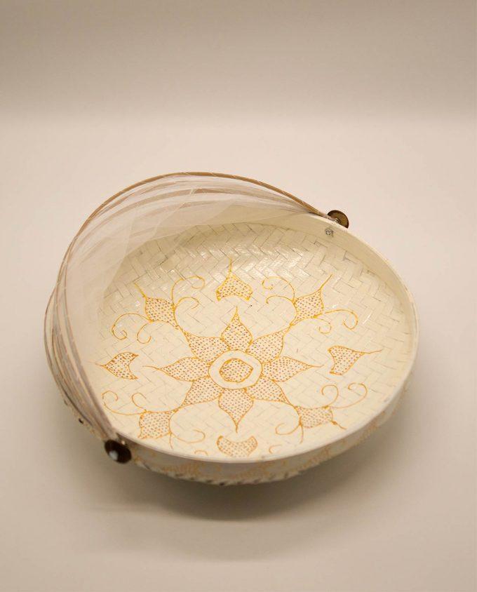 Καλάθι πιατέλα με αναδιπλώμενο τούλι διαμέτρου 35 cm άσπρο