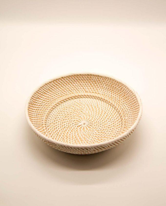 Μπωλ Ραττάν με πλέξιμο λευκό πλαστικό διαμέτρου 30 cm