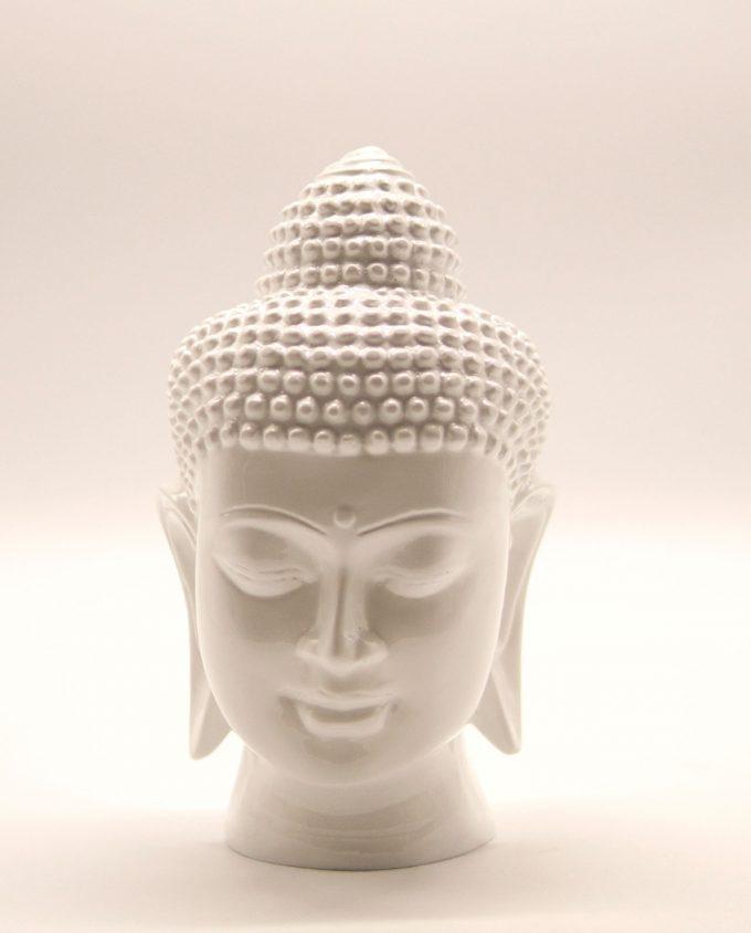 Κεφάλι Βούδα ρητίνη ύψος 20 cm άσπρο