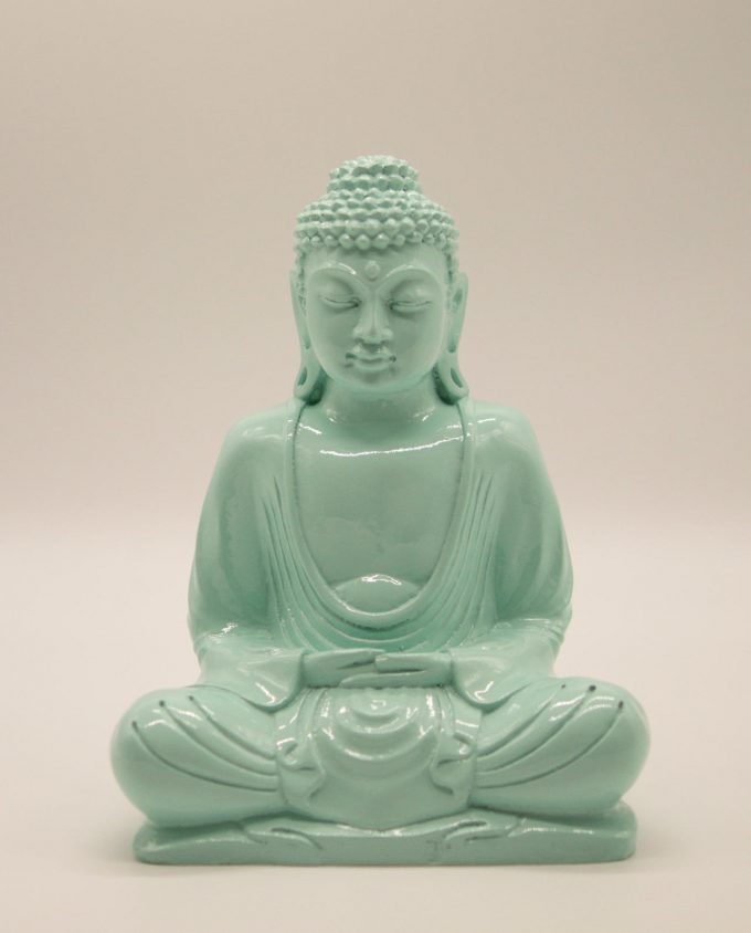Buddha resin height 20 cm color turquoise
