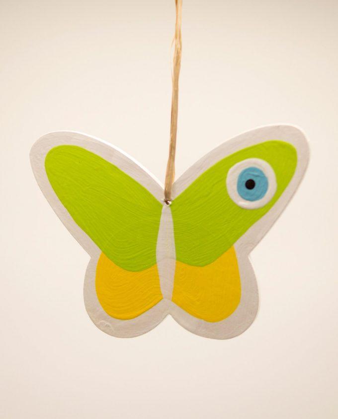 Πεταλούδα ματάκι ξύλινη χειροποίητη πράσινη