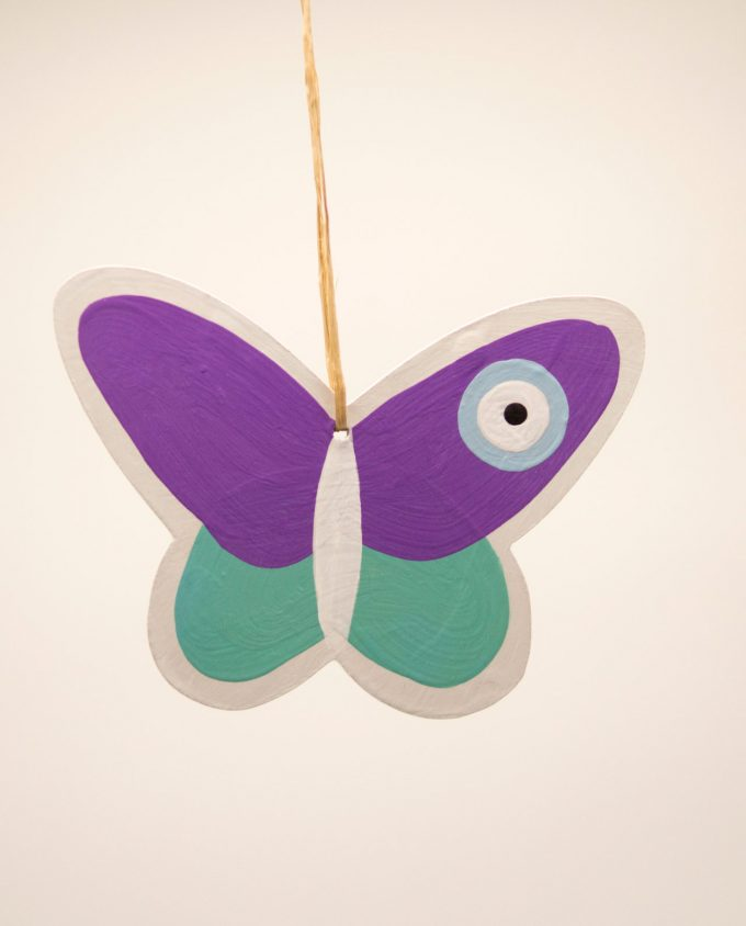 Πεταλούδα ματάκι ξύλινη χειροποίητη μωβ