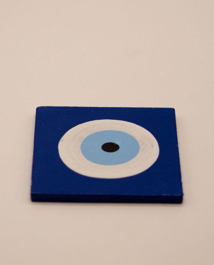 Σουβέρ ματάκι ξύλινο χειροποίητο 9.5 cm x 9.5 cm μπλε