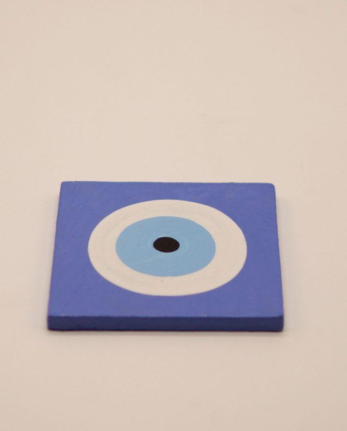 Σουβέρ ματάκι ξύλινο χειροποίητο 9.5 cm x 9.5 cm λουλακί