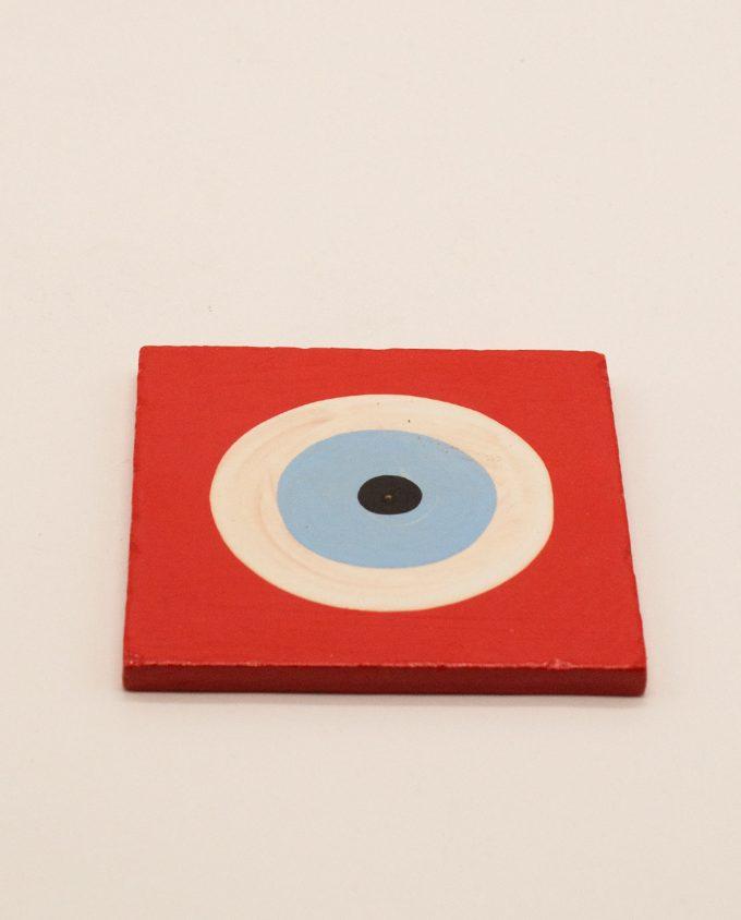 Σουβέρ ματάκι ξύλινο χειροποίητο 9.5 cm x 9.5 cm κόκκινο