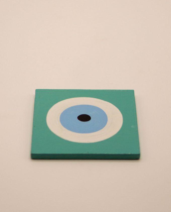 Σουβέρ ματάκι ξύλινο χειροποίητο 9.5 cm x 9.5 cm τιρκουάζ