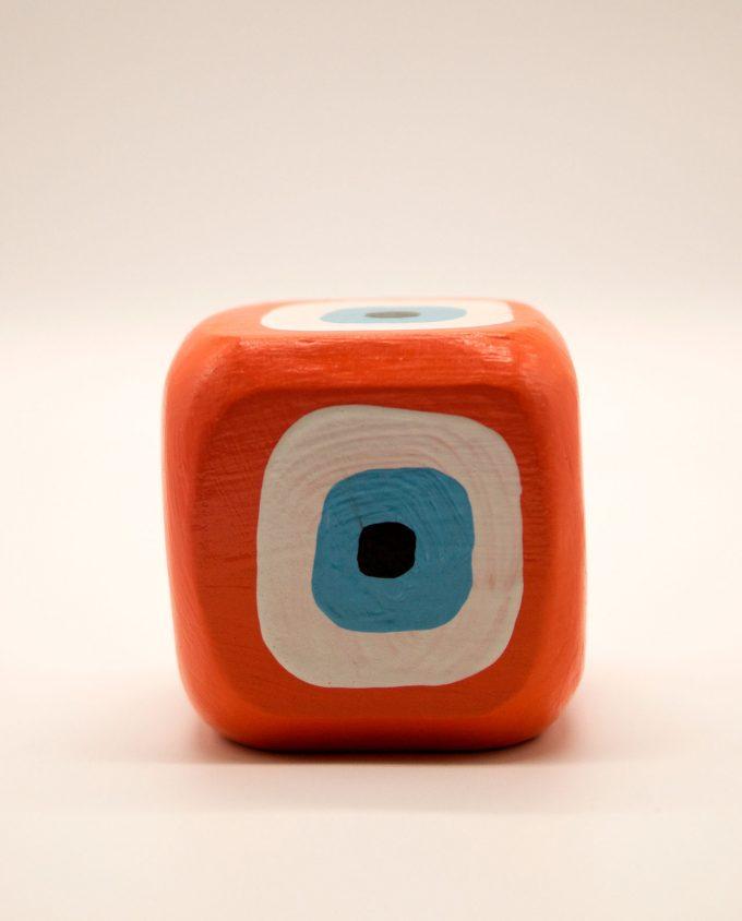Κύβος ματάκι ξύλινος χειροποίητος 8.5 cm x 8.5 cm x 8.5 cm πορτοκαλί