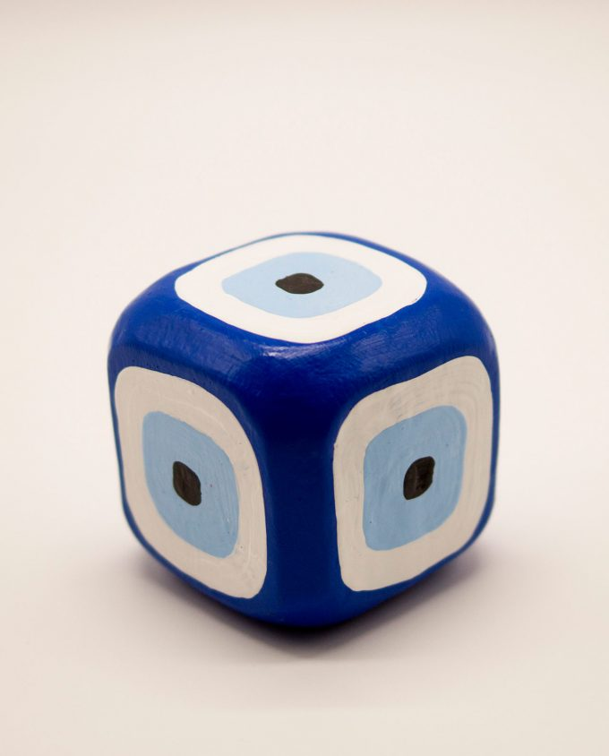Κύβος ματάκι ξύλινος χειροποίητος 8.5 cm x 8.5 cm x 8.5 cm μπλε