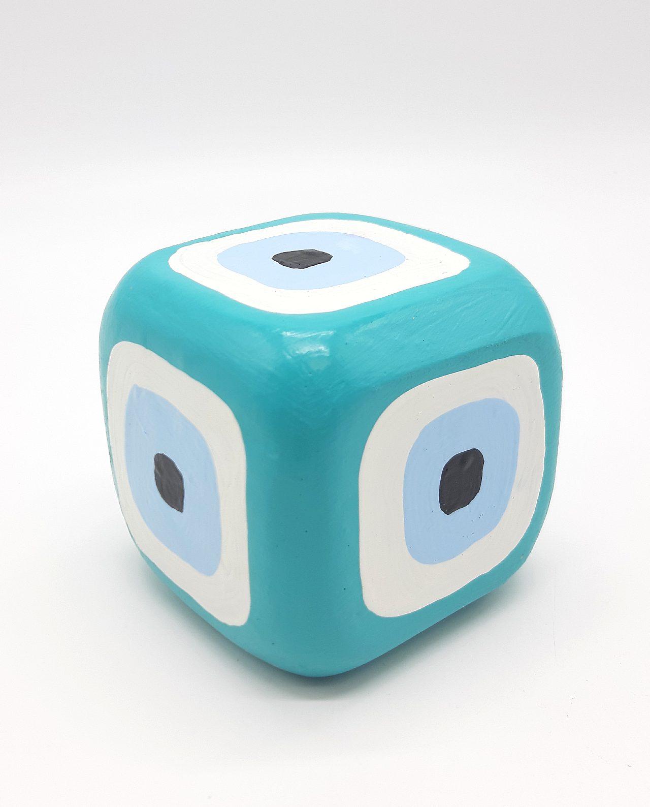 Κύβος Ματάκι Ξύλινος Χειροποίητος 8.5 cm x 8.5 cm x 8.5 cm χρώμα πετρολ