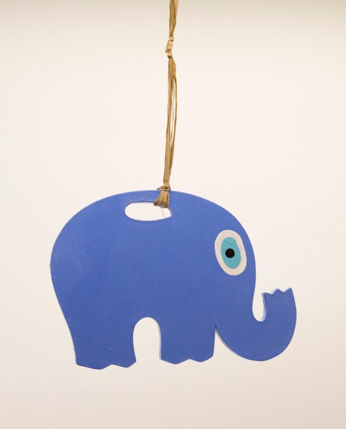 Ελέφαντας ματάκι ξύλινος χειροποίητος μήκος 18 cm λουλακί