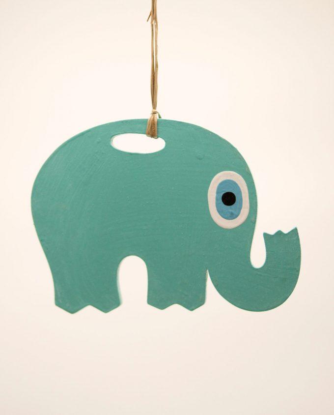 Ελέφαντας ματάκι ξύλινος χειροποίητος μήκος 18 cm τιρκουαζ