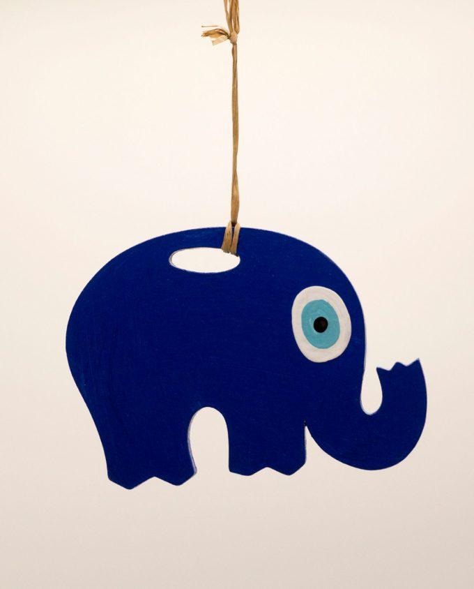 Ελέφαντας ματάκι ξύλινος χειροποίητος μήκος 18 cm μπλε