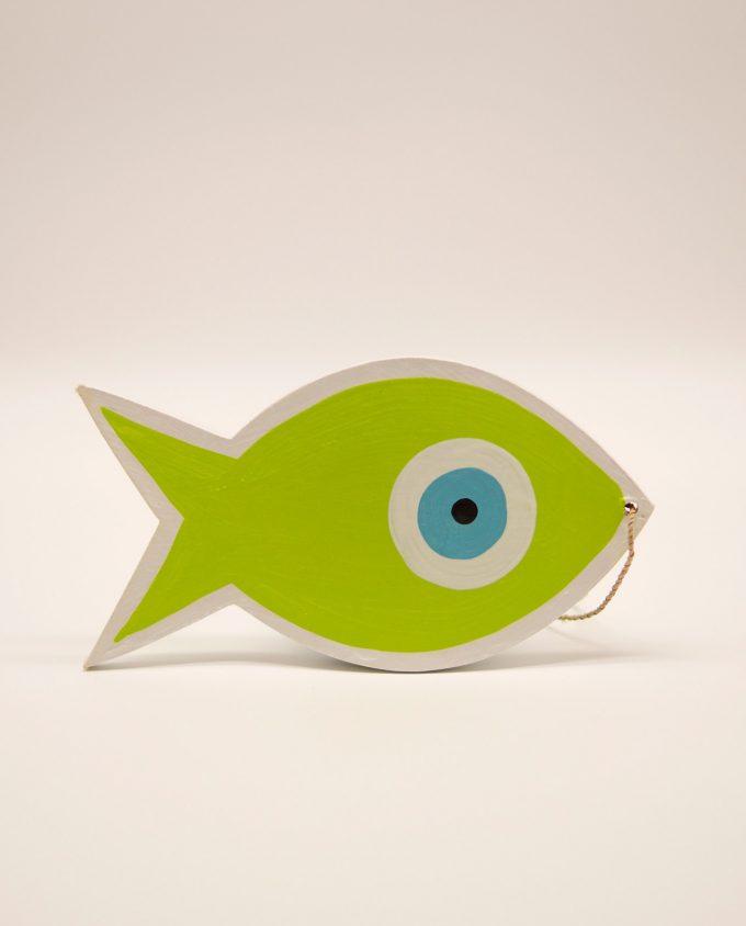 Ψάρι ματάκι ξύλινο χειροποίητο μήκος 18 cm πράσινο