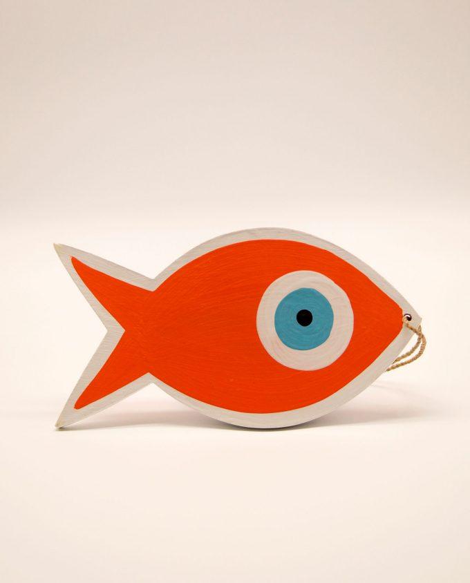 Ψάρι ματάκι ξύλινο χειροποίητο μήκος 18 cm πορτοκαλί