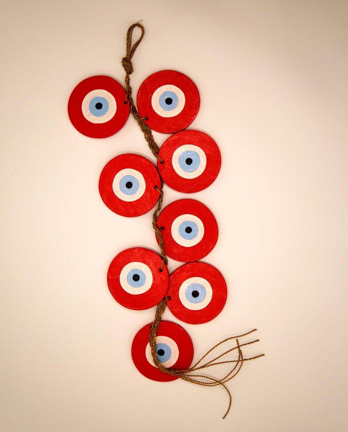 Γιρλάντα με 8 ματάκια ξύλινα χειροποίητα, μήκος 50 cm κόκκινο