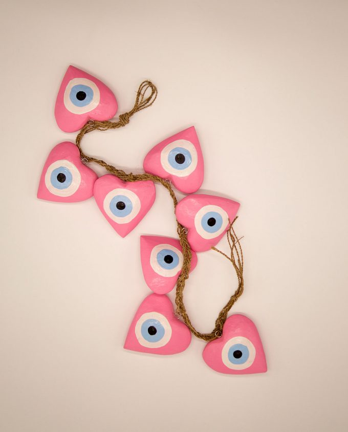 Γιρλάντα 8 καρδιές ματάκι χειροποίητες ξύλινες, μήκος 50 cm ροζ