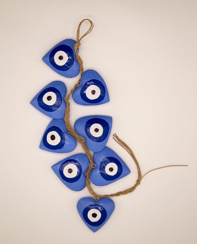 Γιρλάντα 8 καρδιές ματάκι χειροποίητες ξύλινες, μήκος 50 cm λουλακί