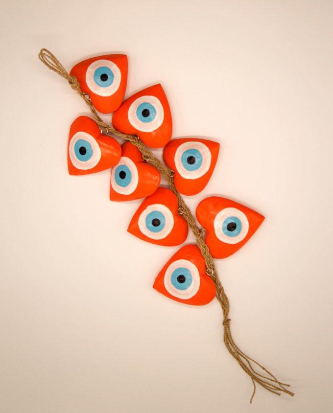 Γιρλάντα 8 καρδιές ματάκι χειροποίητες ξύλινες, μήκος 50 cm πορτοκαλί