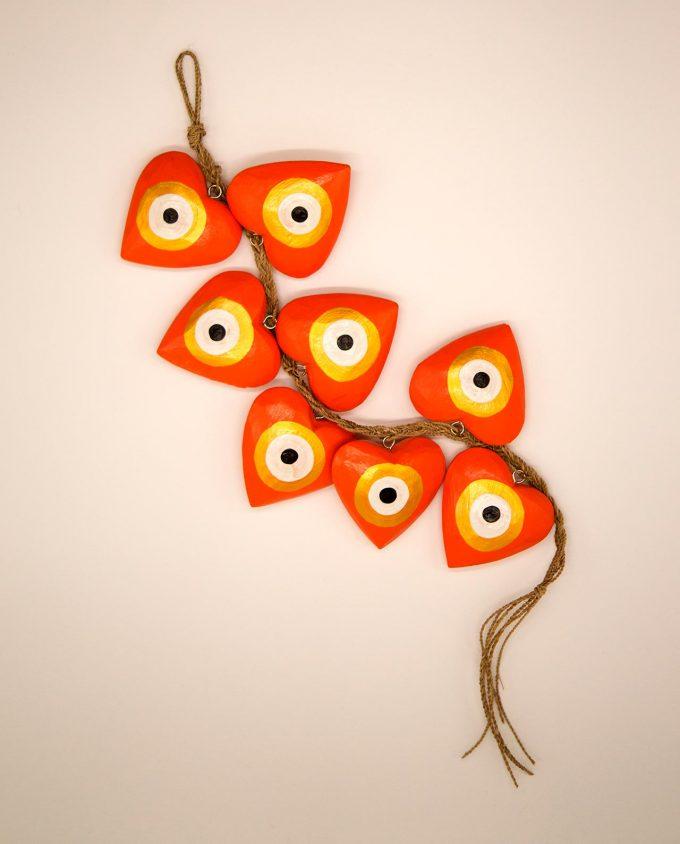 Γιρλάντα 8 καρδιές ματάκι χειροποίητες ξύλινες, μήκος 50 cm πορτοκαλί χρυσό