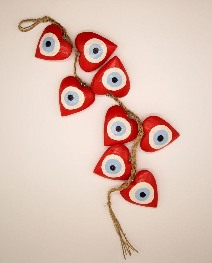 Γιρλάντα 8 καρδιές ματάκι χειροποίητες ξύλινες, μήκος 50 cm κόκκινο