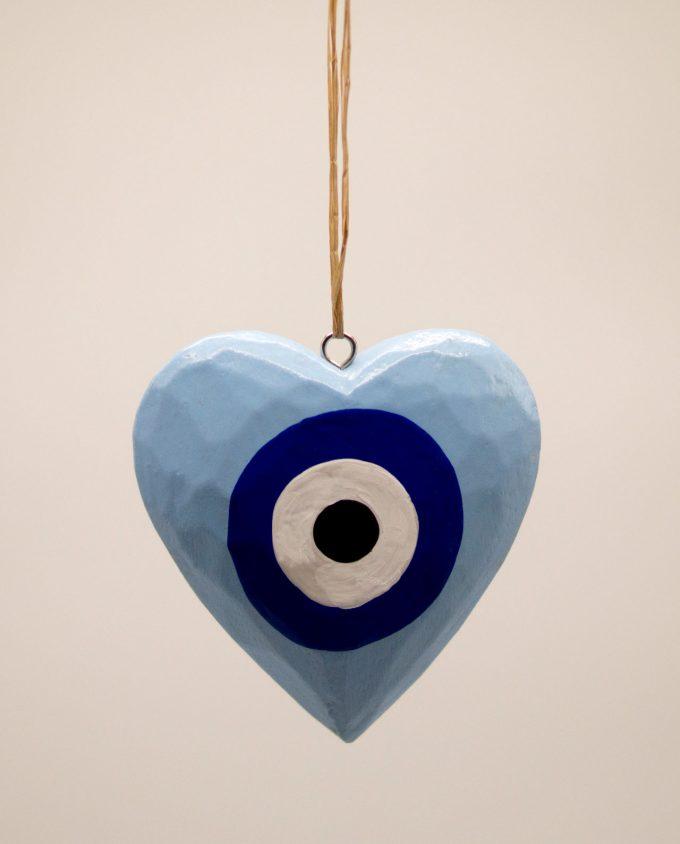 Καρδιά ματάκι ξύλινη χειροποίητη διαμέτρου 10 cm γαλάζιο