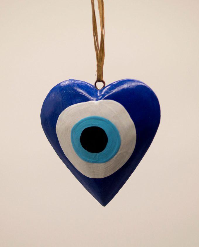 Καρδιά ματάκι ξύλινη χειροποίητη διαμέτρου 10 cm μπλε