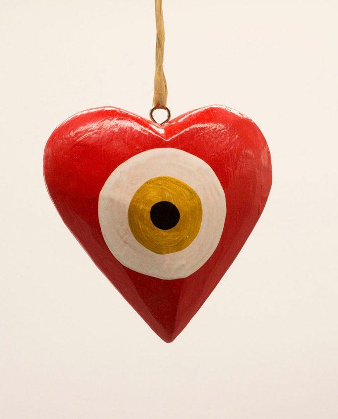 Καρδιά ματάκι ξύλινη χειροποίητη διαμέτρου 10 cm κόκκινο χρυσό