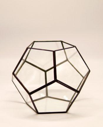 "Lantern ""Disco"" copper & glass handmade diameter 24 cm, color brown antique"
