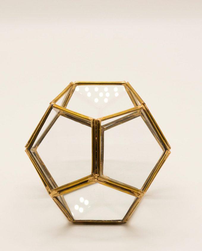 """Φανάρι """"Disco"""" μπρουτζος & γυαλί χειροποίητο διαμέτρου 12 cm χρώμα χρυσό"""