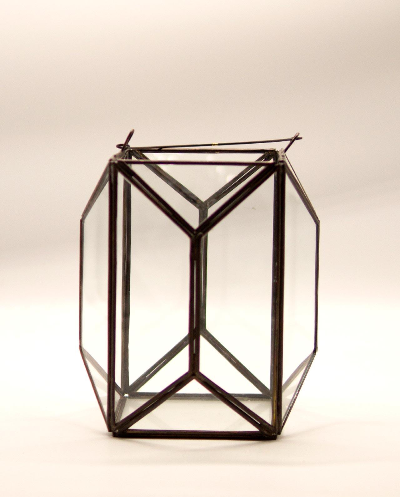 """Φανάρι """"Polygon"""" χαλκός & γυαλί χειροποίητο ύψος 20 cm"""
