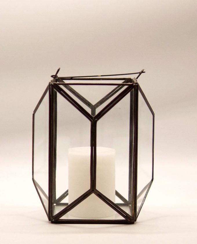 """Φανάρι """"Polygon"""" μπρύτζος & γυαλί χειροποίητο ύψος 20 cm"""