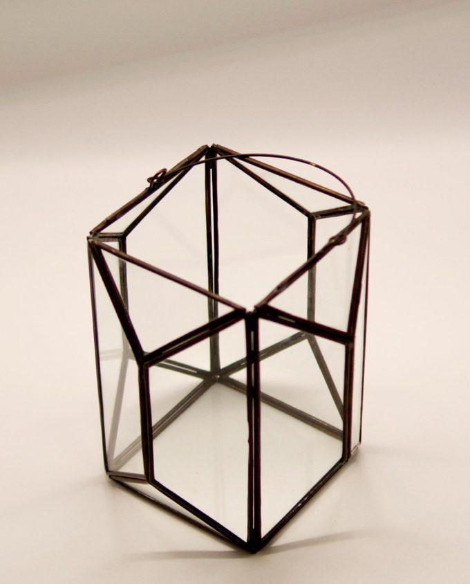 """Φανάρι """"Polygon"""" μπρούτζος & γυαλί χειροποίητο ύψος 20 cm"""