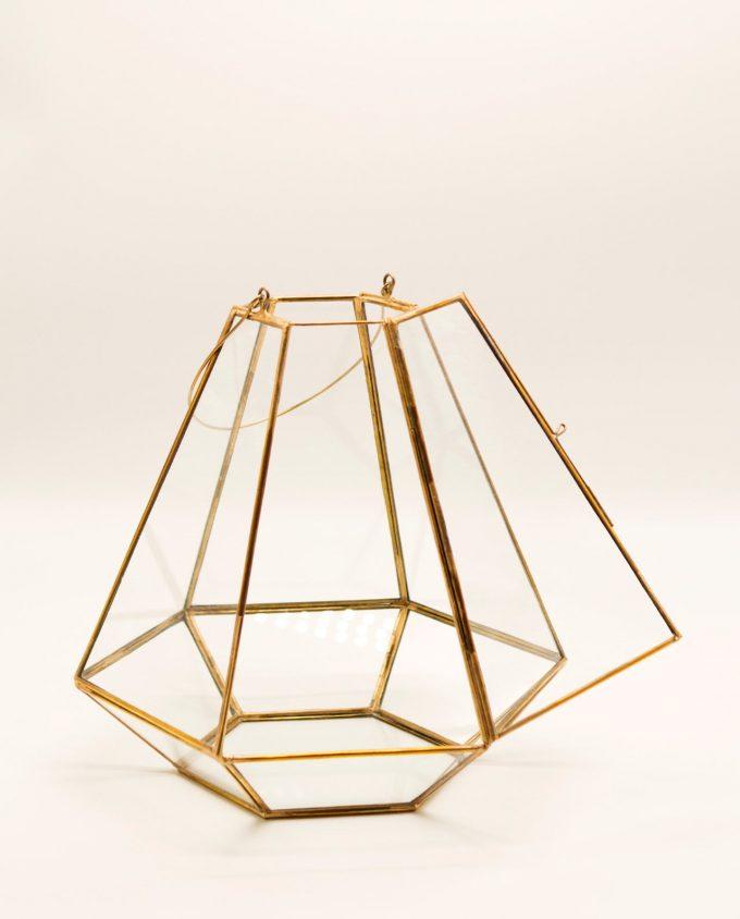 """Φανάρι """"Pyramid"""" μπρούτζος & γυαλί χειροποίτητο ύψους 27 cm χρώμα χρυσό"""