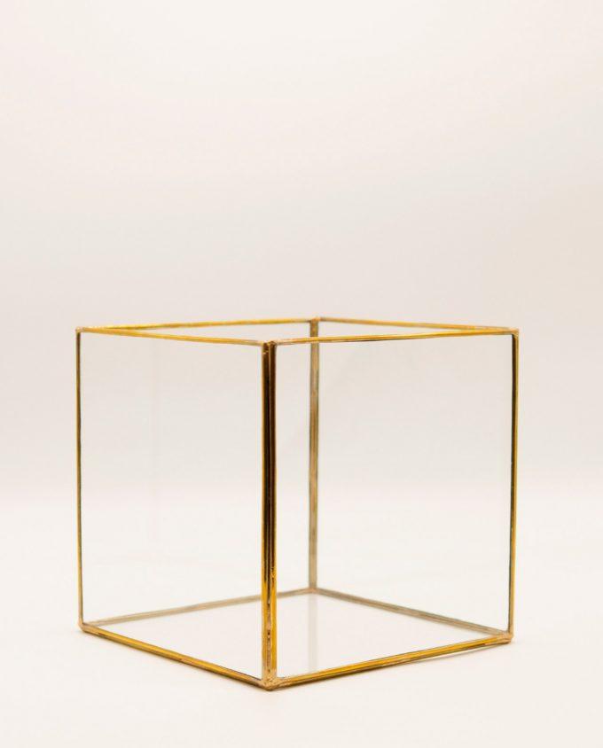 Φανάρι τετράγωνο μπρούτζινο γυάλινο χειροποίητο 20 cm x 20 cm x 20 cm χρυσό