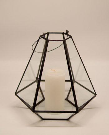 Lantern handmade glass brown copper pyramid