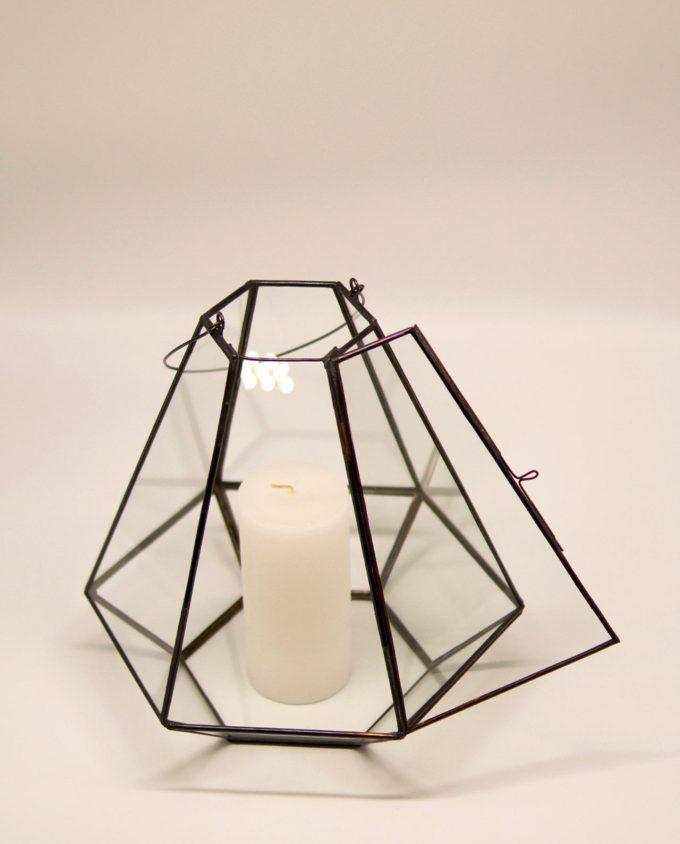 """Φανάρι """"Pyramid"""" μπρούτζος & γυαλί χειροποίτητο ύψους 27 cm χρώμα καφέ"""