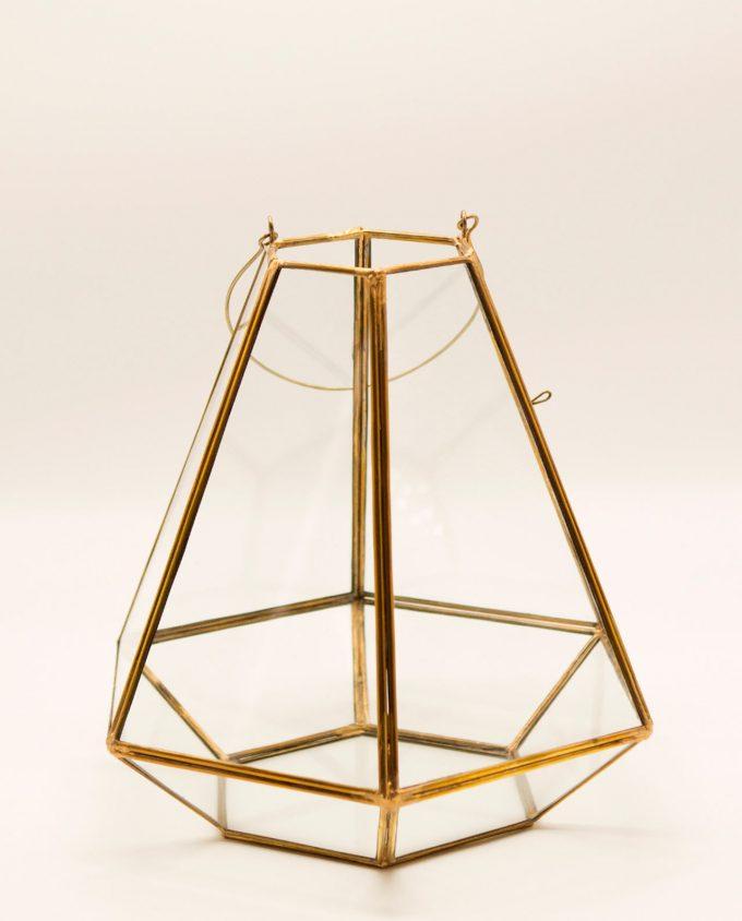 """Φανάρι """"Pyramid"""" χαλκός & γυαλί χειροποίτητο ύψους 27 cm χρώμα χρυσό"""