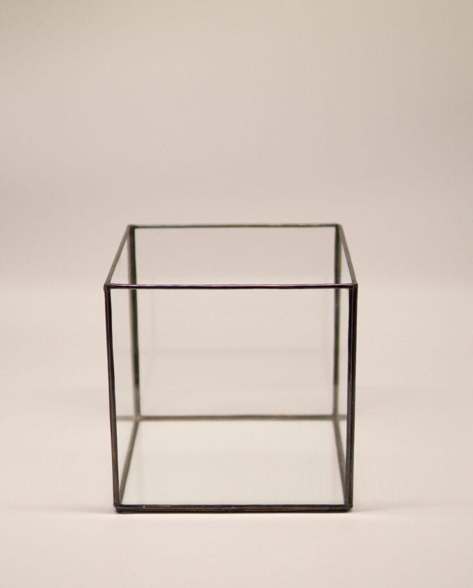 Φανάρι τετράγωνο χάλκινο γυάλινο χειροποίητο 20 cm x 20 cm x 20 cm καφέ