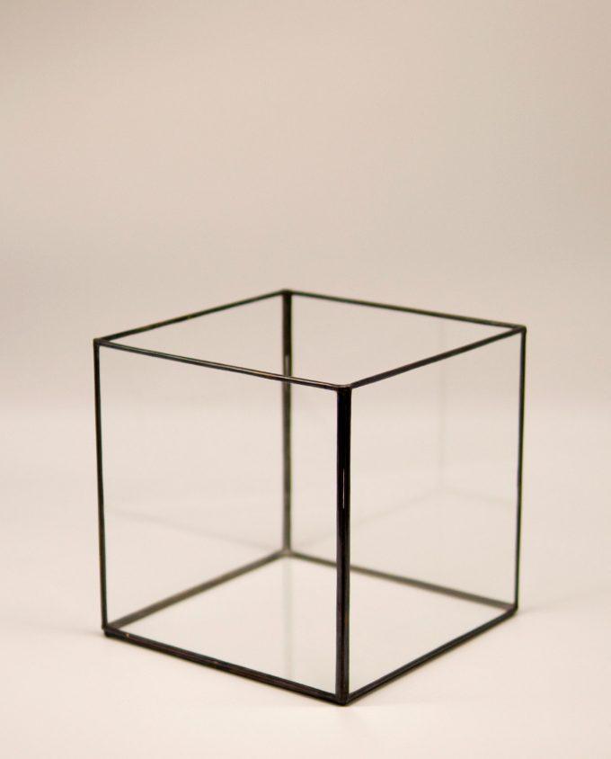Φανάρι τετράγωνο μπρούτζινο γυάλινο χειροποίητο 20 cm x 20 cm x 20 cm καφέ