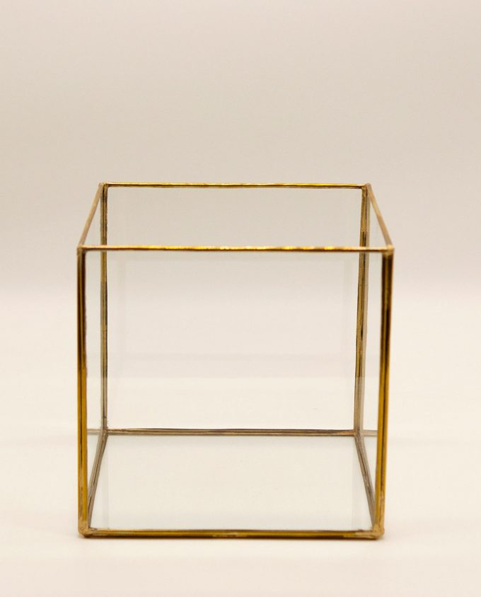 Φανάρι τετράγωνο χάλκινο γυάλινο χειροποίητο 20 cm x 20 cm x 20 cm χρυσό