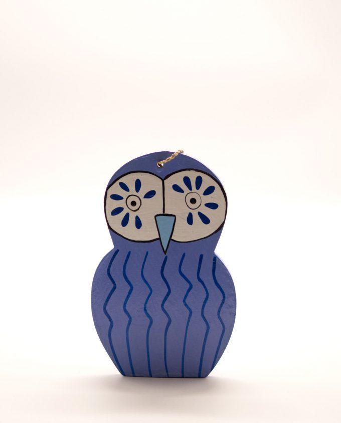 Κουκουβάγια ξύλινη χειροποίητη 15.5 x 10 cm