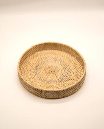 Πιατέλα στρογγυλή ρατταν άσπρη ντεκαπέ διαμέτρου 30 cm